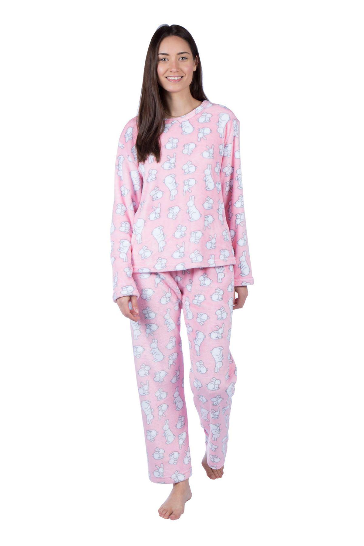 e1eaa498ae Item Description. Ladies Flannel Fleece Pyjama Set Long Sleeve Ruby Rabit  Crewneck Warm Loungewear ...