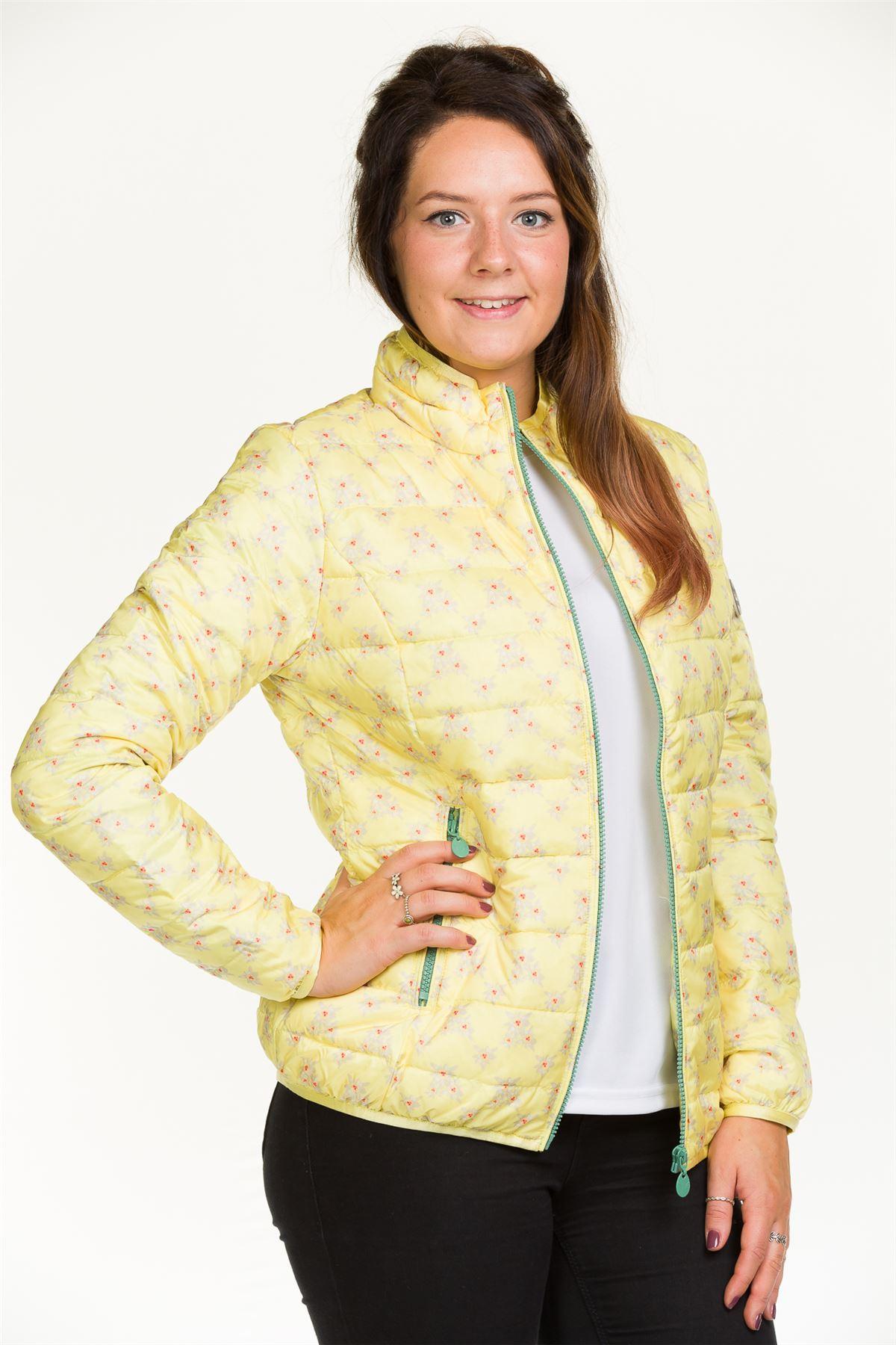 Donna-Giacca-Imbottita-giu-Piuma-fodera-leggera-blu-giallo-floreale-zip-Cappotto miniatura 5