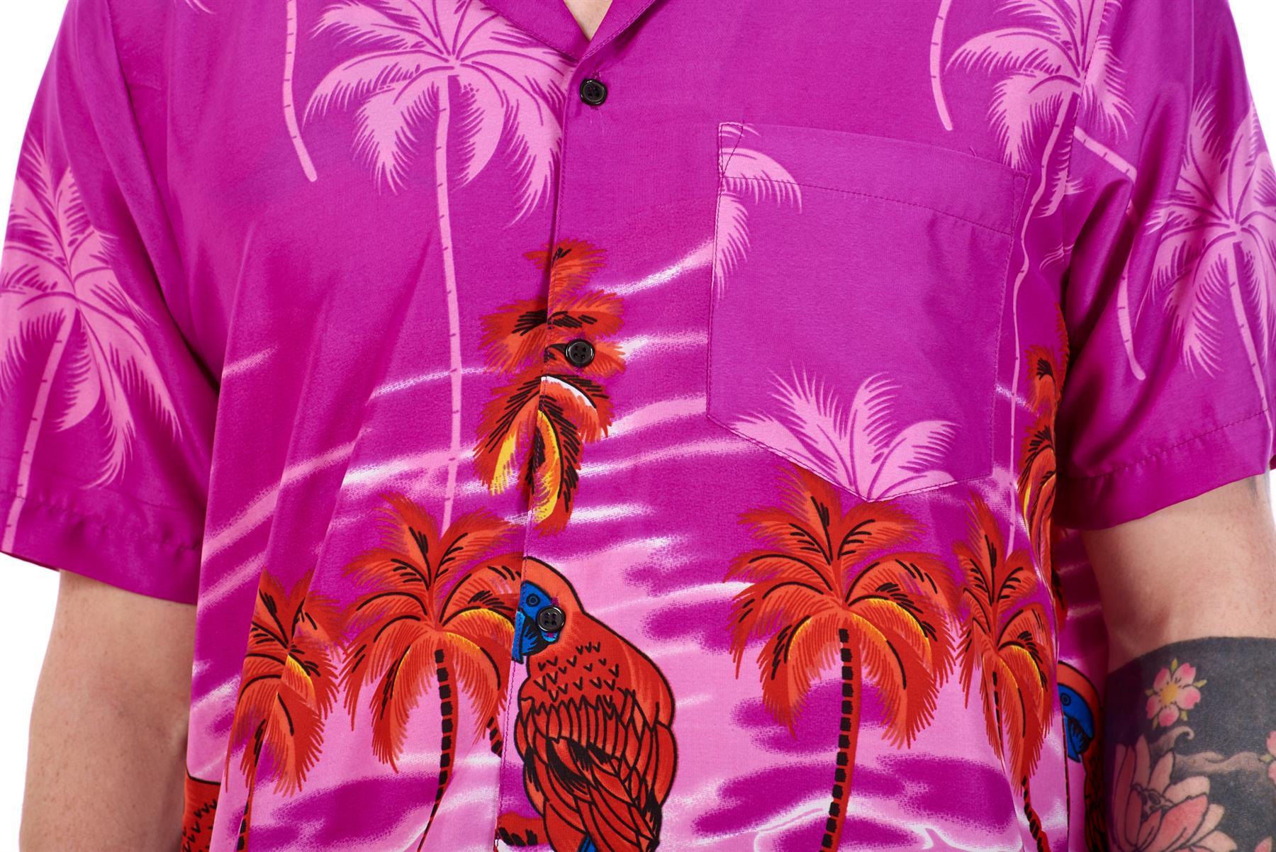 Mens-Hawaiian-Shirt-Multi-Colors-Print-Regular-Big-Size-Summer-Fancy-Dress-M-5XL thumbnail 33