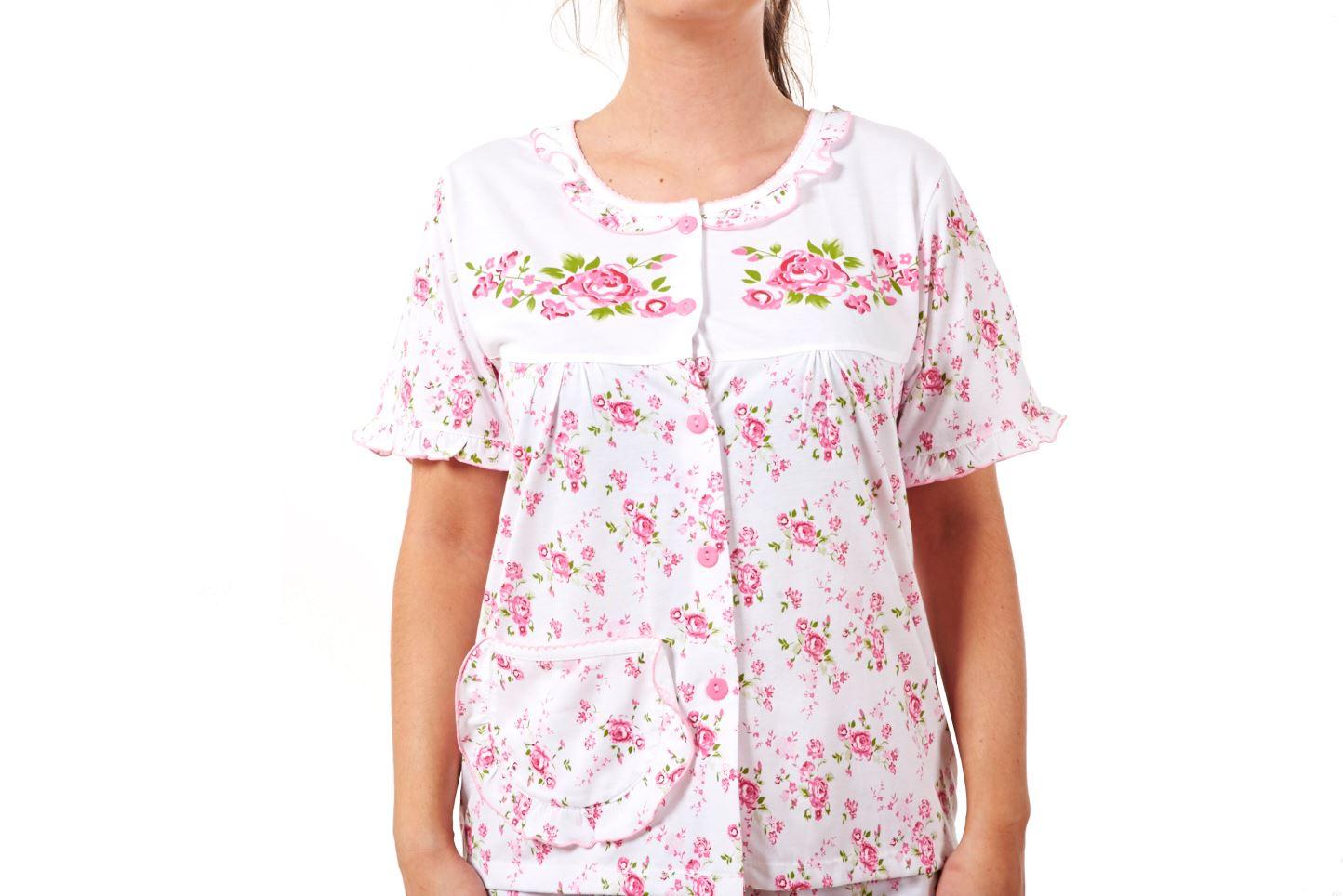 ab56de8501 Item Description. Ladies Women Pyjama Sets Floral Cotton Short Sleeve Button  New Nightwear ...