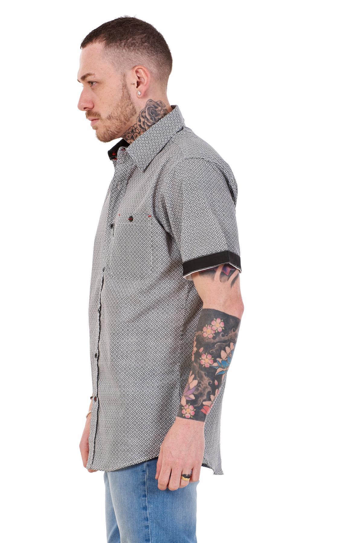 Mens-100-Cotton-Printed-Shirt-Short-Sleeve-Regular-Big-Size-Casual-Top-M-to-5XL thumbnail 9