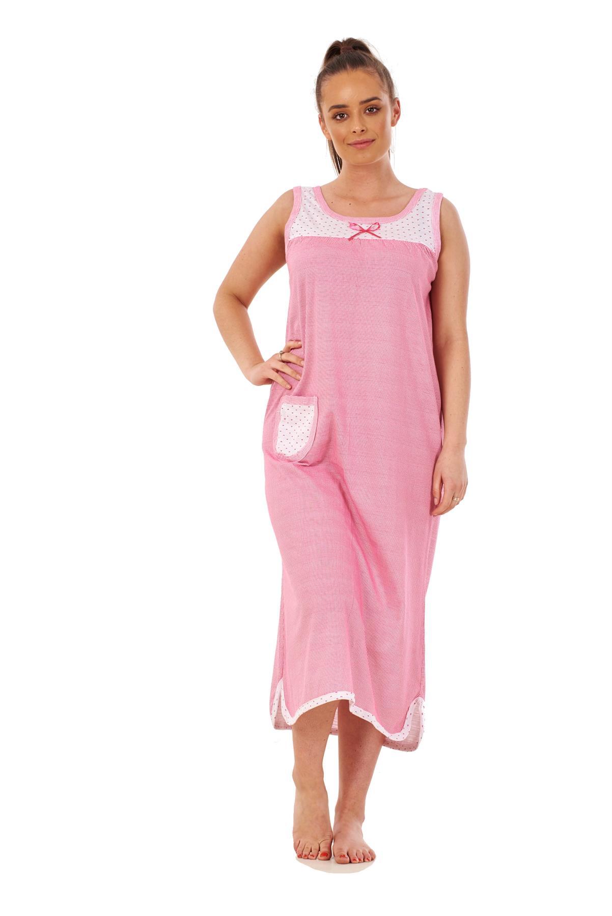 Ladies Nightwear Check 100/% Cotton Sleeveless Crew Neck Long Nightdress M to 3XL