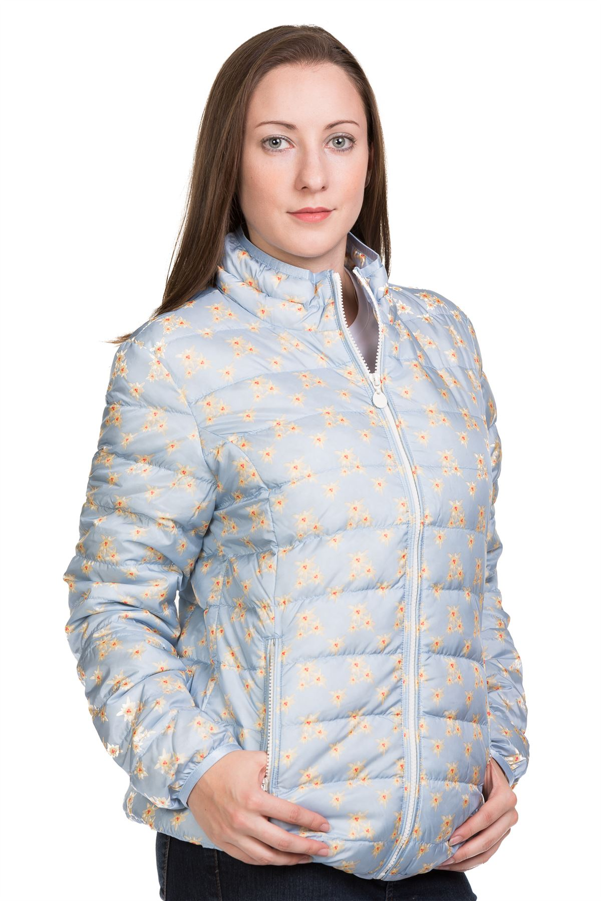 Ladies-Padded-Jacket-Down-Feather-Lining-Plain-Lightweight-Quilted-Floral-Coats thumbnail 3