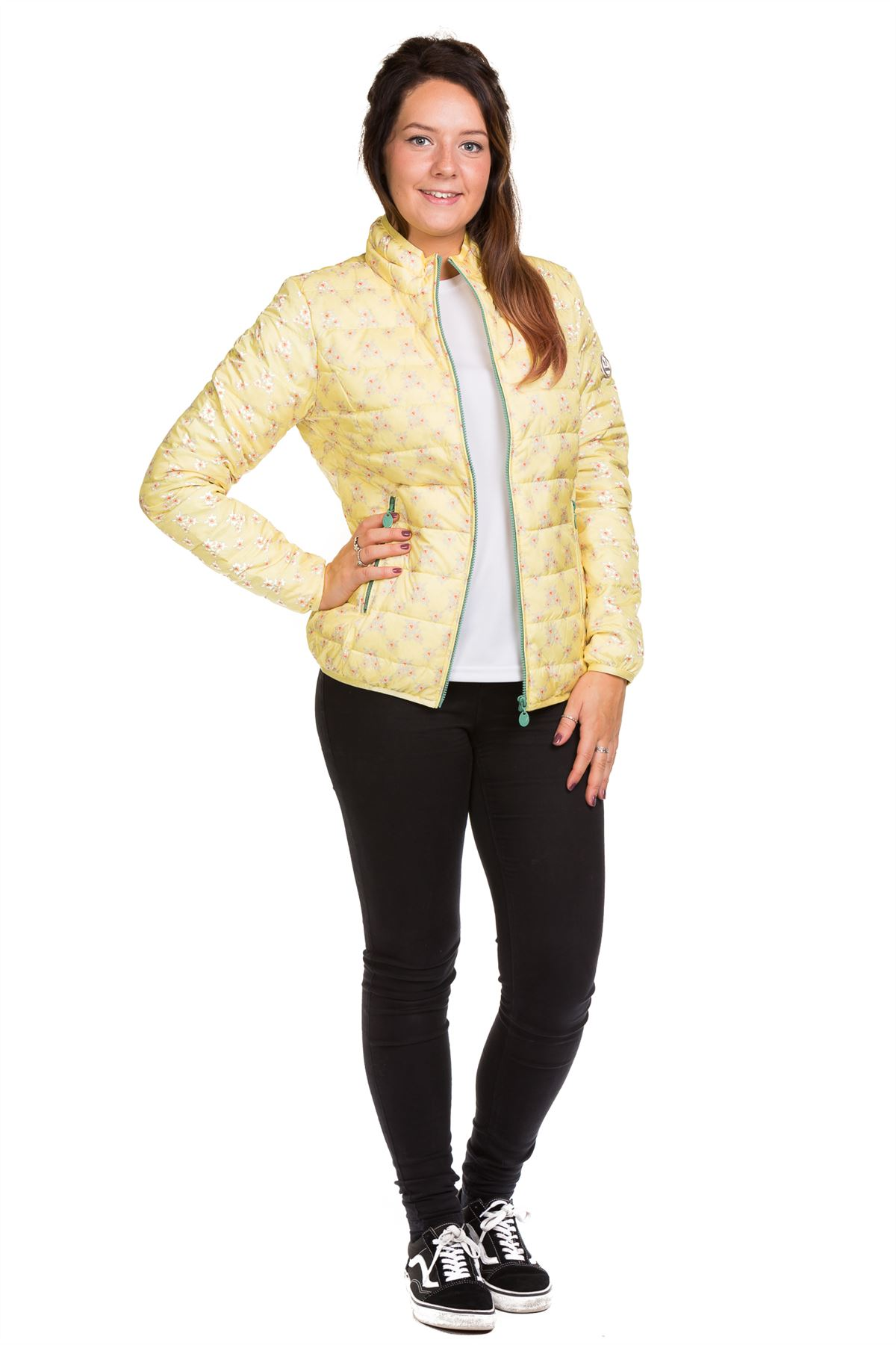 Ladies-Padded-Jacket-Down-Feather-Lining-Plain-Lightweight-Quilted-Floral-Coats thumbnail 12