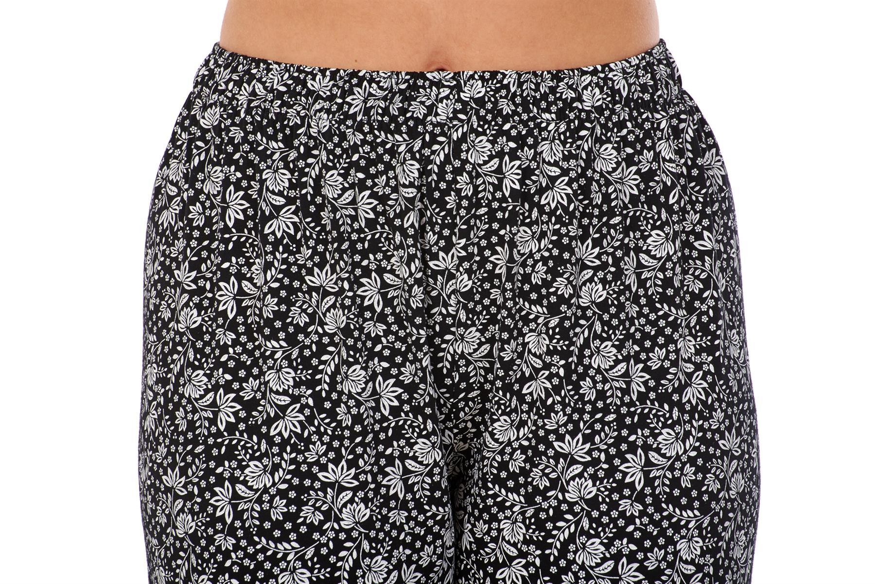 Ladies-Women-Trouser-Elasticated-Printed-Tapered-Harem-High-waist-Regular-Pants thumbnail 21
