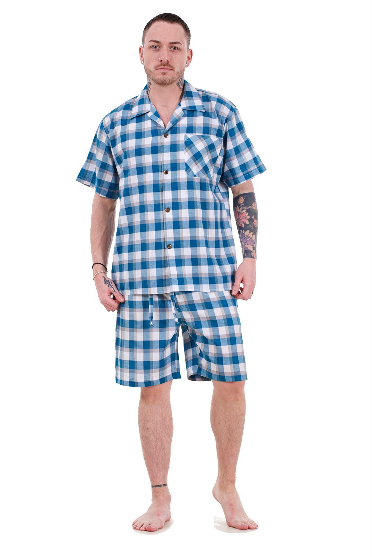 Boys Blue Woven Check  Cotton Short Pyjamas
