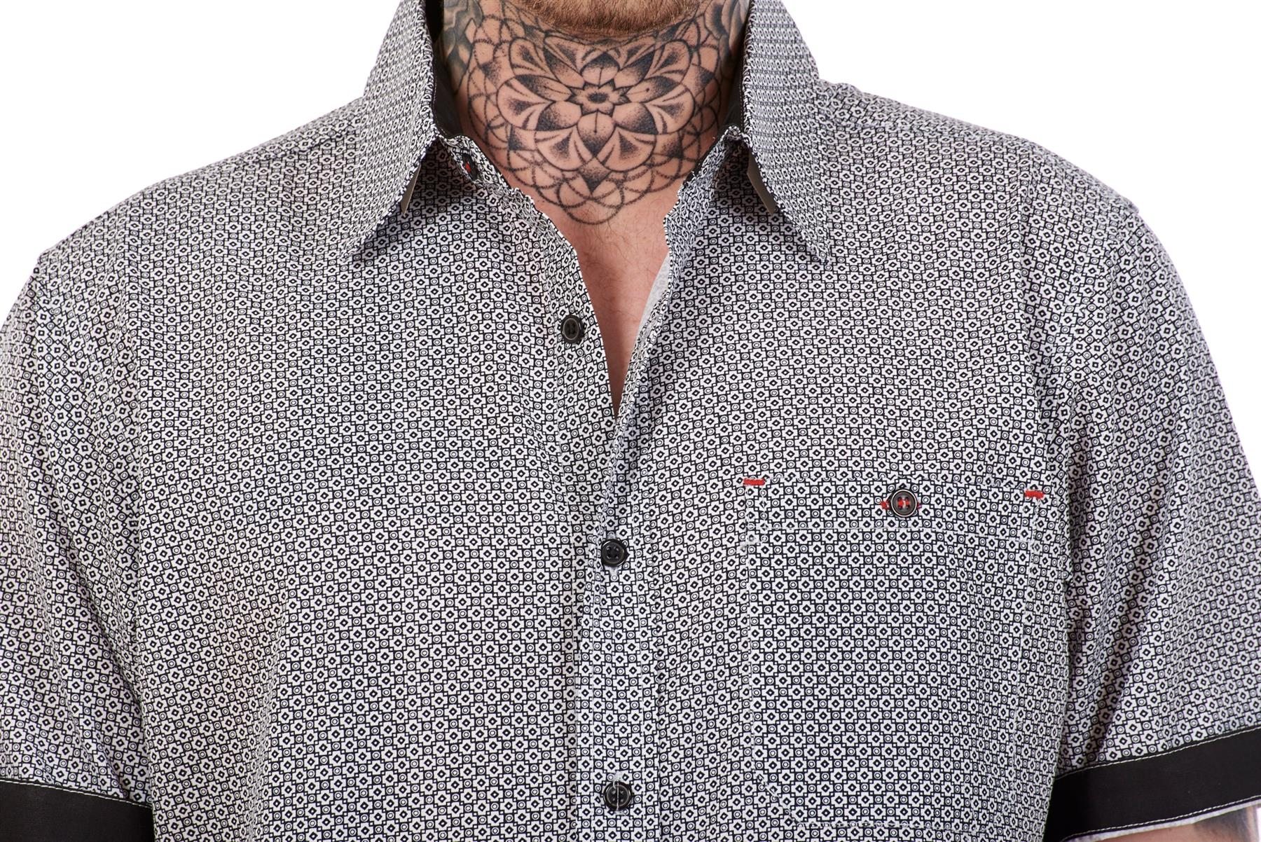 Mens-100-Cotton-Printed-Shirt-Short-Sleeve-Regular-Big-Size-Casual-Top-M-to-5XL thumbnail 11