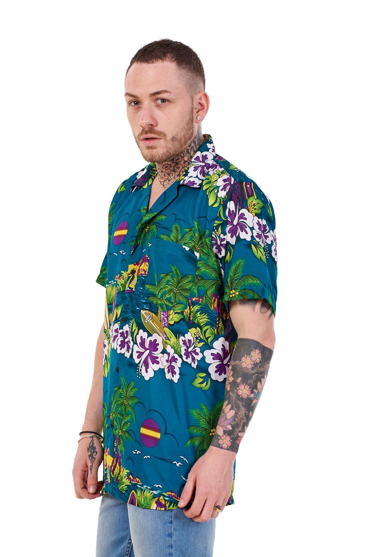 Mens-Hawaiian-Shirt-Multi-Colors-Print-Regular-Big-Size-Summer-Fancy-Dress-M-5XL thumbnail 9