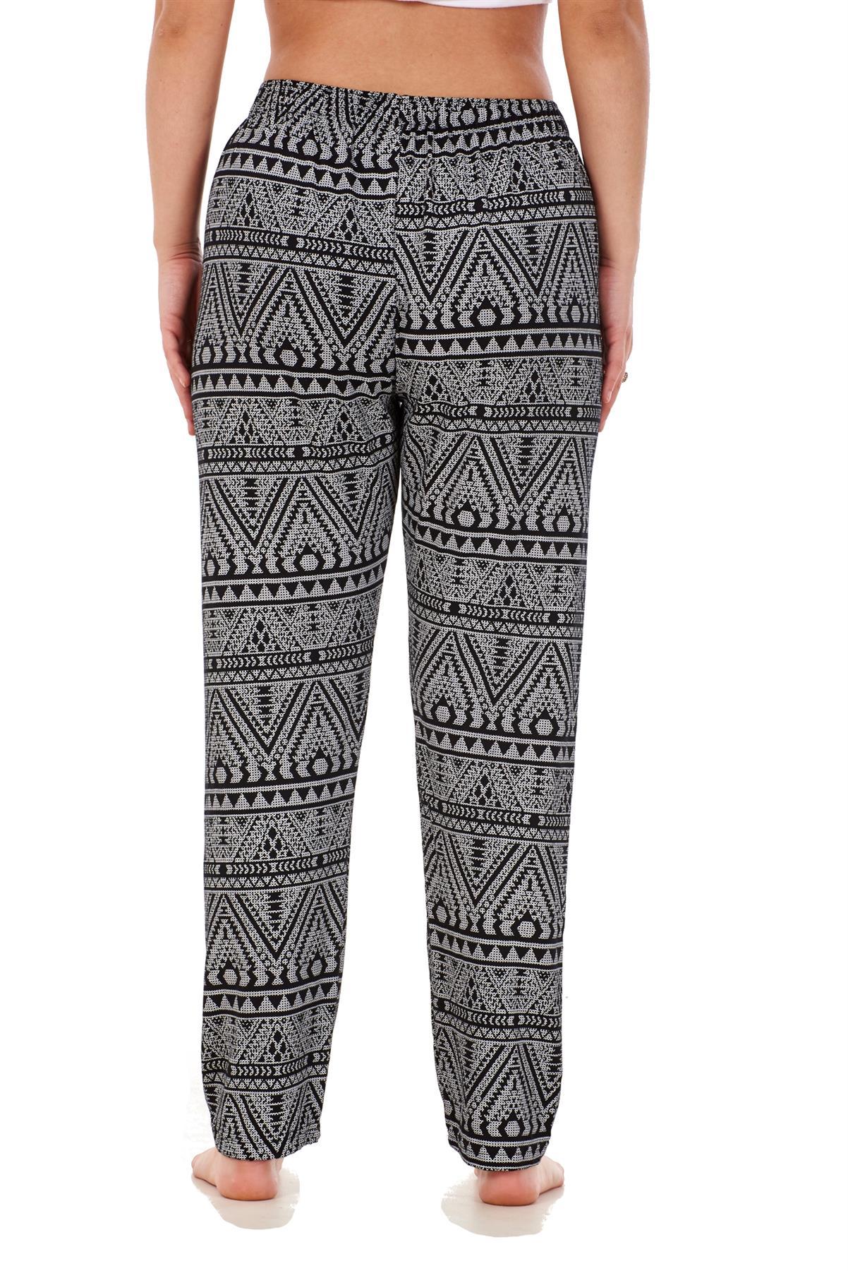 Ladies-Women-Trouser-Elasticated-Printed-Tapered-Harem-High-waist-Regular-Pants thumbnail 12