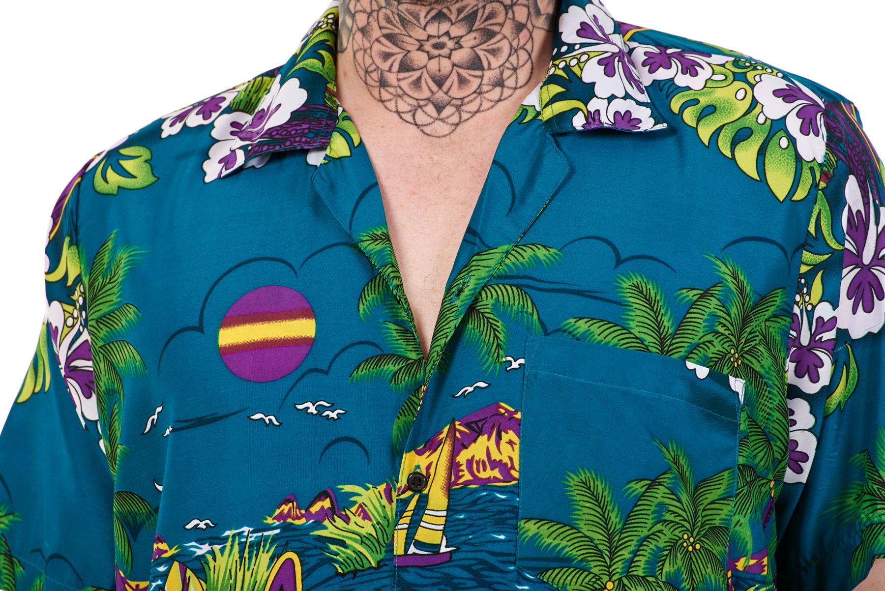 Mens-Hawaiian-Shirt-Multi-Colors-Print-Regular-Big-Size-Summer-Fancy-Dress-M-5XL thumbnail 11
