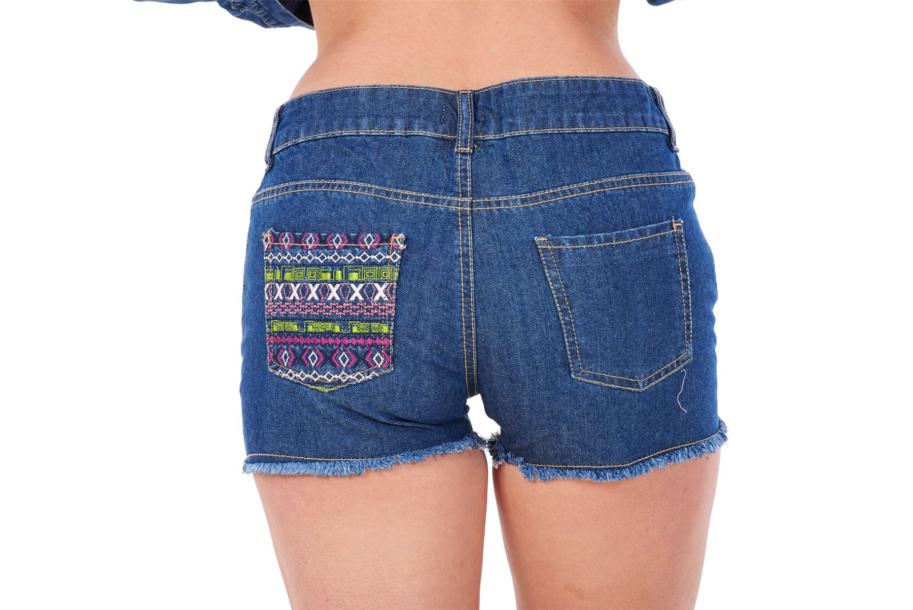 11e02dc666 Ladies Denim shorts Embroidered 100% Cotton Zip Fly Women Summer Frayed  Hotpants