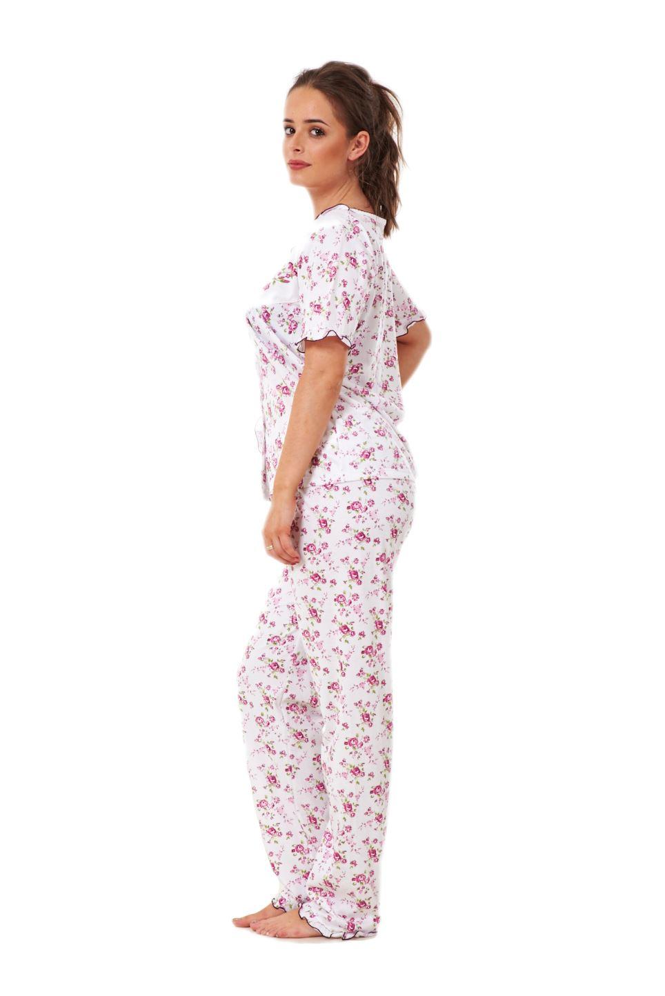 0cde584b62 Ladies Women Pyjama Sets Floral Cotton Short Sleeve Button Nightwear ...