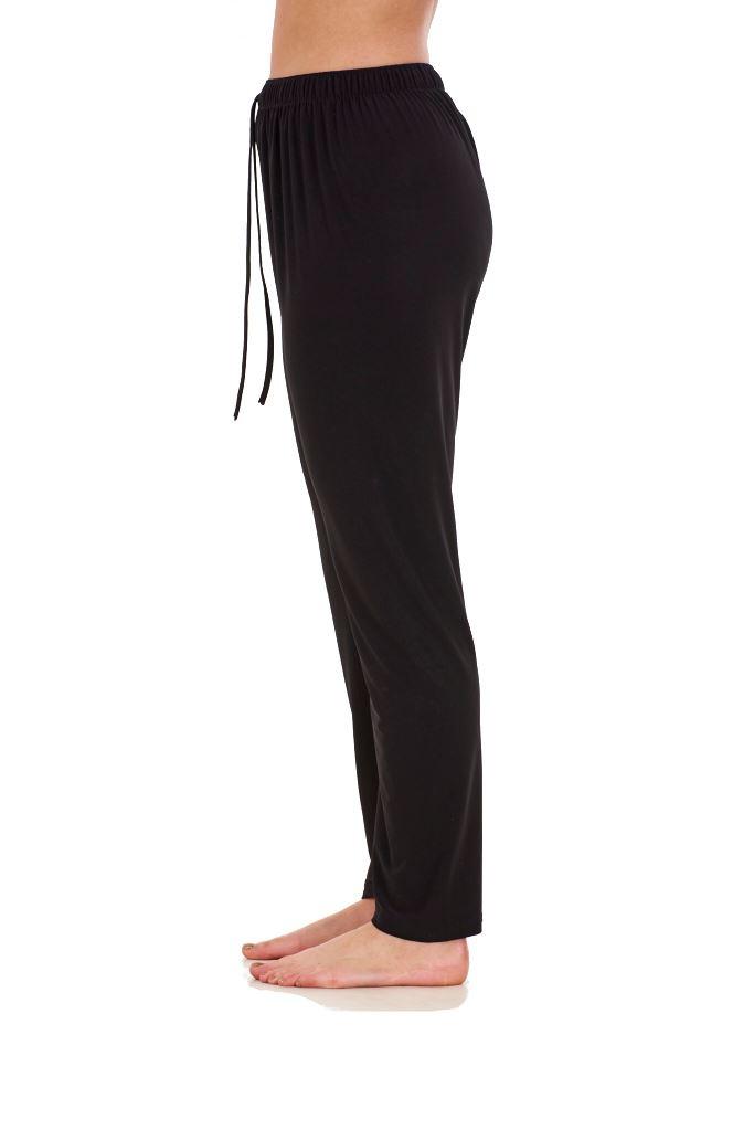 Ladies-Women-Trouser-Elasticated-Tapered-High-waist-ITY-Regular-Pants-Black thumbnail 8