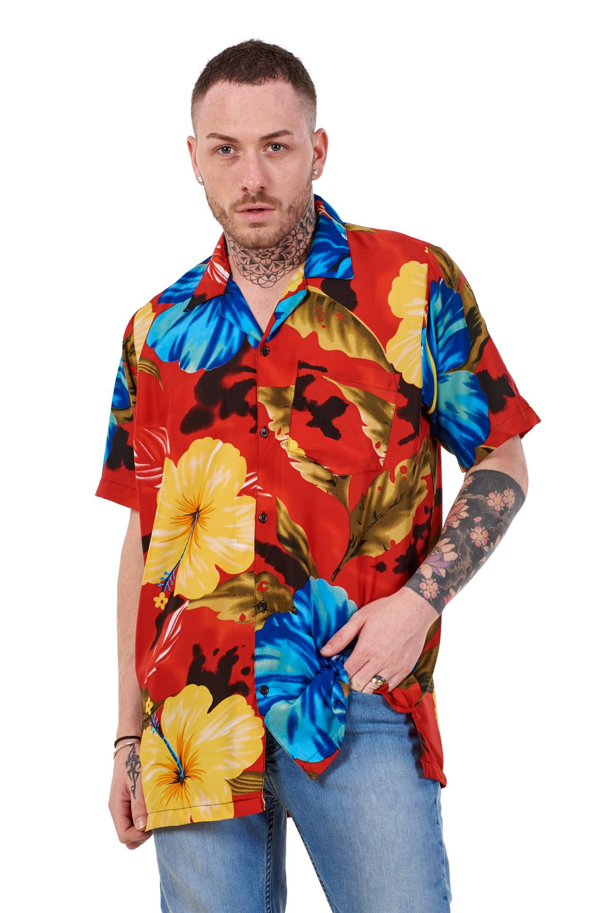 Mens-Hawaiian-Shirt-Multi-Colors-Print-Regular-Big-Size-Summer-Fancy-Dress-M-5XL thumbnail 35