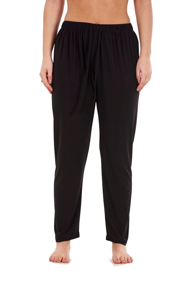 Ladies-Women-Trouser-Elasticated-Tapered-High-waist-ITY-Regular-Pants-Black thumbnail 7