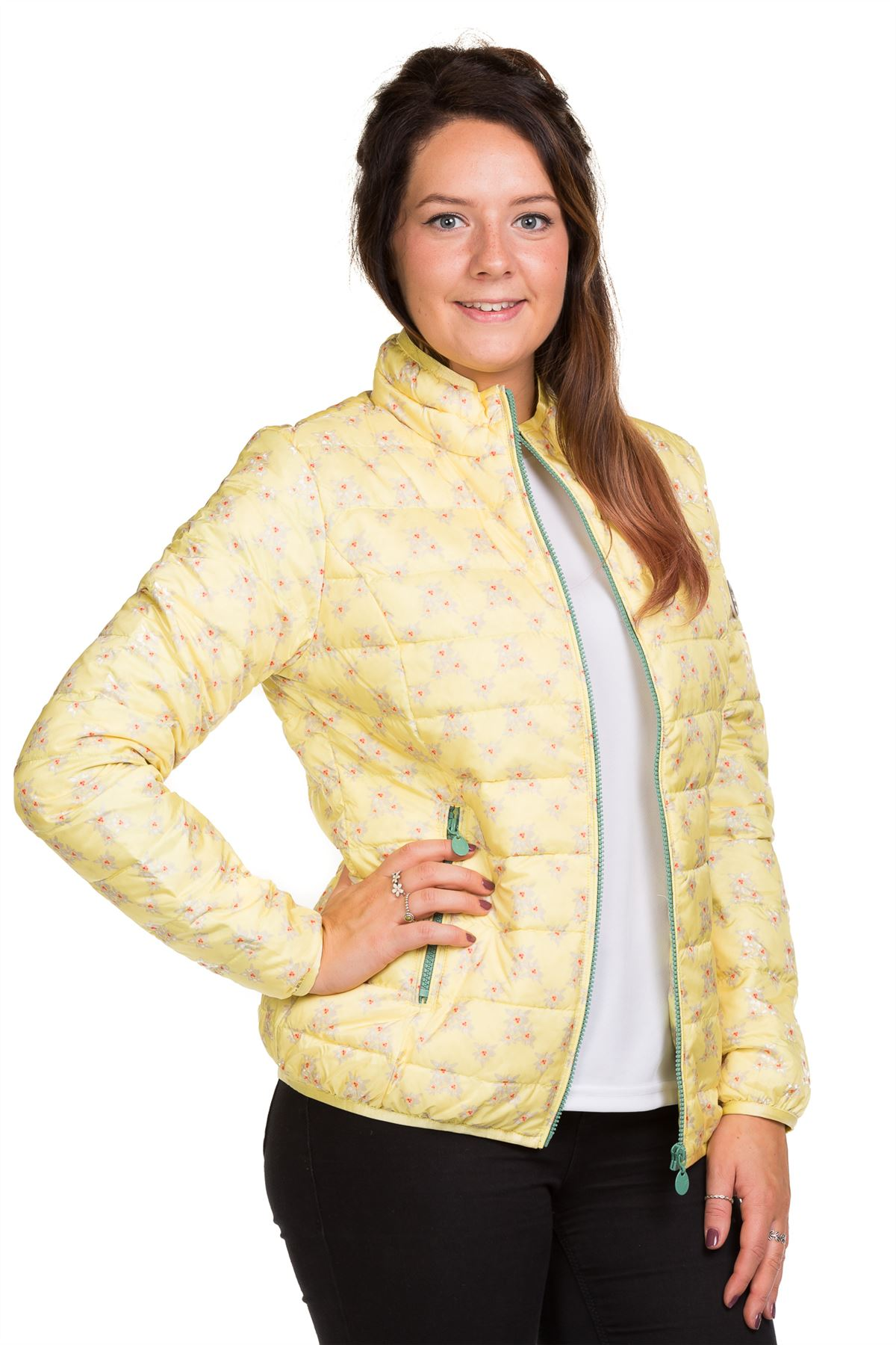 Ladies-Padded-Jacket-Down-Feather-Lining-Plain-Lightweight-Quilted-Floral-Coats thumbnail 11