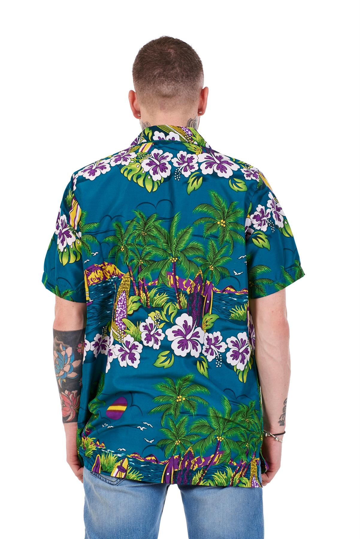 Mens-Hawaiian-Shirt-Multi-Colors-Print-Regular-Big-Size-Summer-Fancy-Dress-M-5XL thumbnail 10