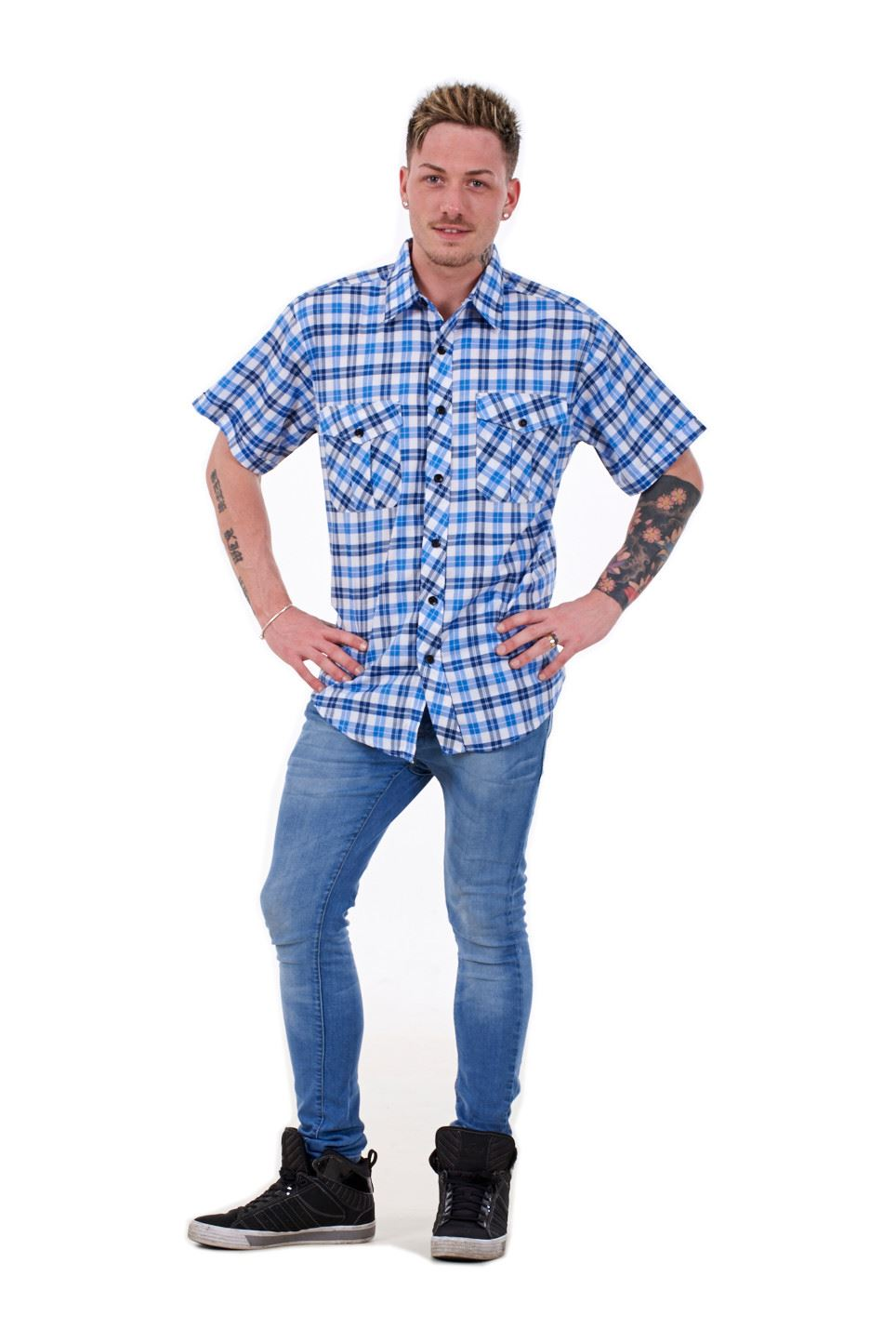 Mens Checked Shirt by Malay Apparel Cotton Casual Wear Short Sleeve