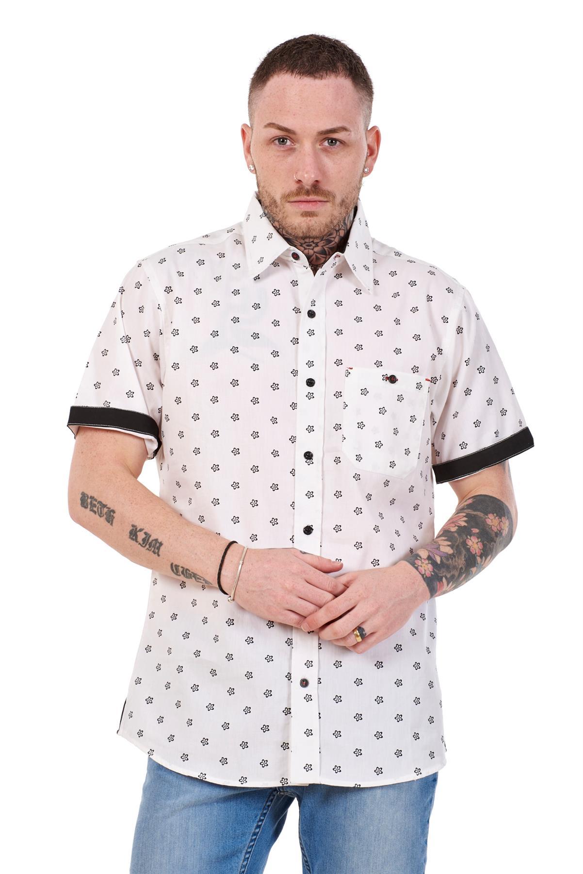 Mens-100-Cotton-Printed-Shirt-Short-Sleeve-Regular-Big-Size-Casual-Top-M-to-5XL thumbnail 18