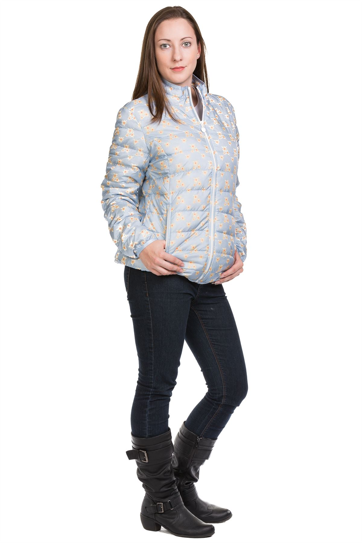 Ladies-Padded-Jacket-Down-Feather-Lining-Plain-Lightweight-Quilted-Floral-Coats thumbnail 5