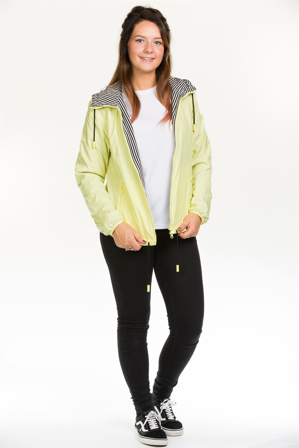 Ladies-Hooded-Jacket-Cotton-Lining-Zipper-Red-Yellow-Casual-amp-Sports-Outdoor