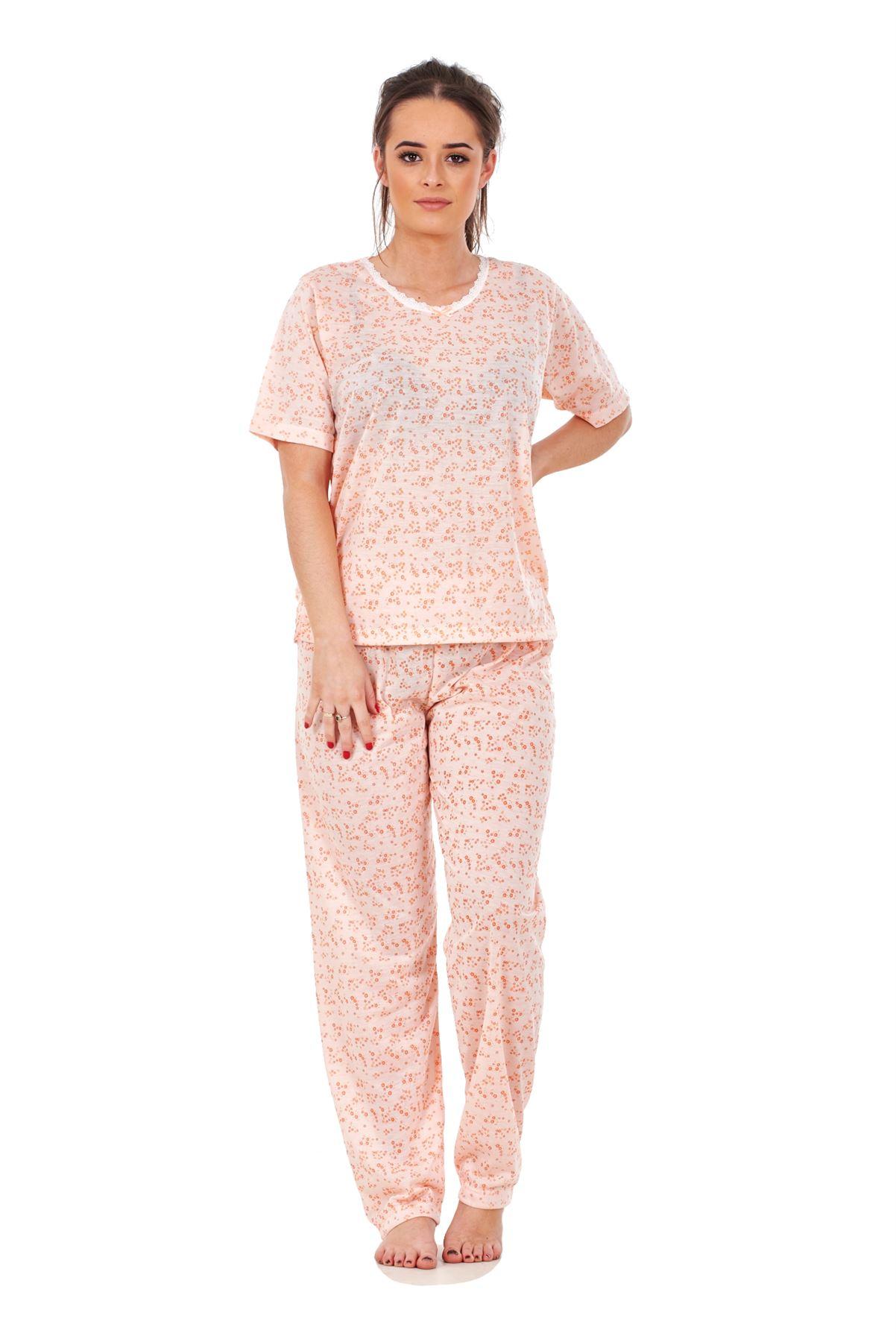 Ladies Floral Pyjama Sets Printed Short Sleeve Crew Neck Nightwear PJ's S to XXL
