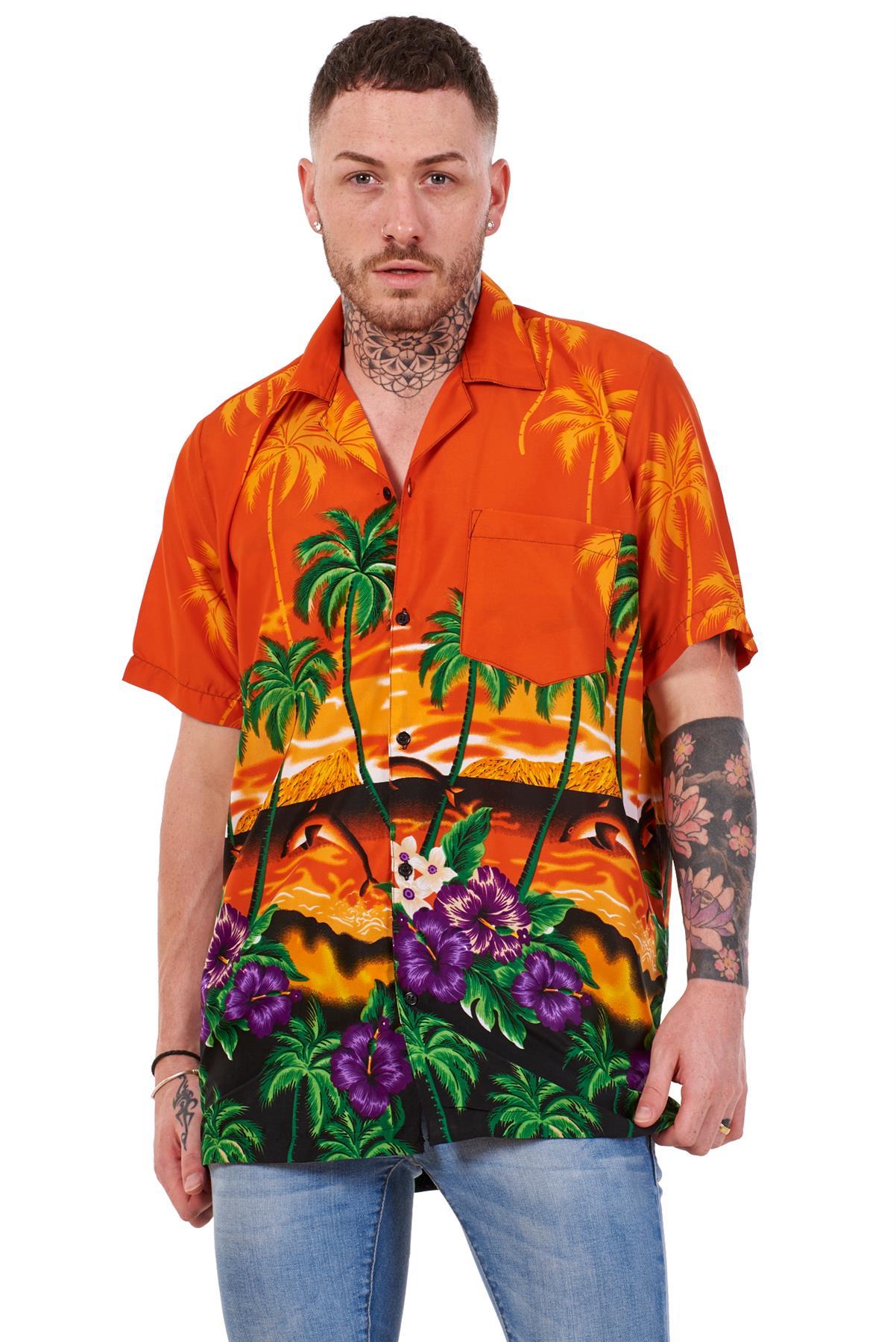Mens-Hawaiian-Shirt-Multi-Colors-Print-Regular-Big-Size-Summer-Fancy-Dress-M-5XL thumbnail 22