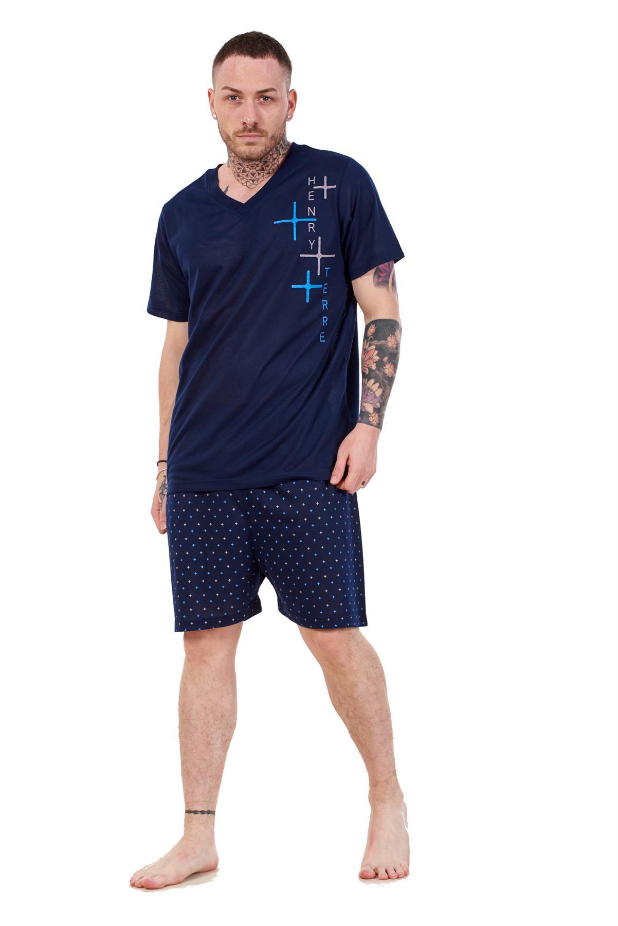 Mens Short Pyjama Set Cotton Blend V Neck Tee Lounge Wear Nightdress M to XXL