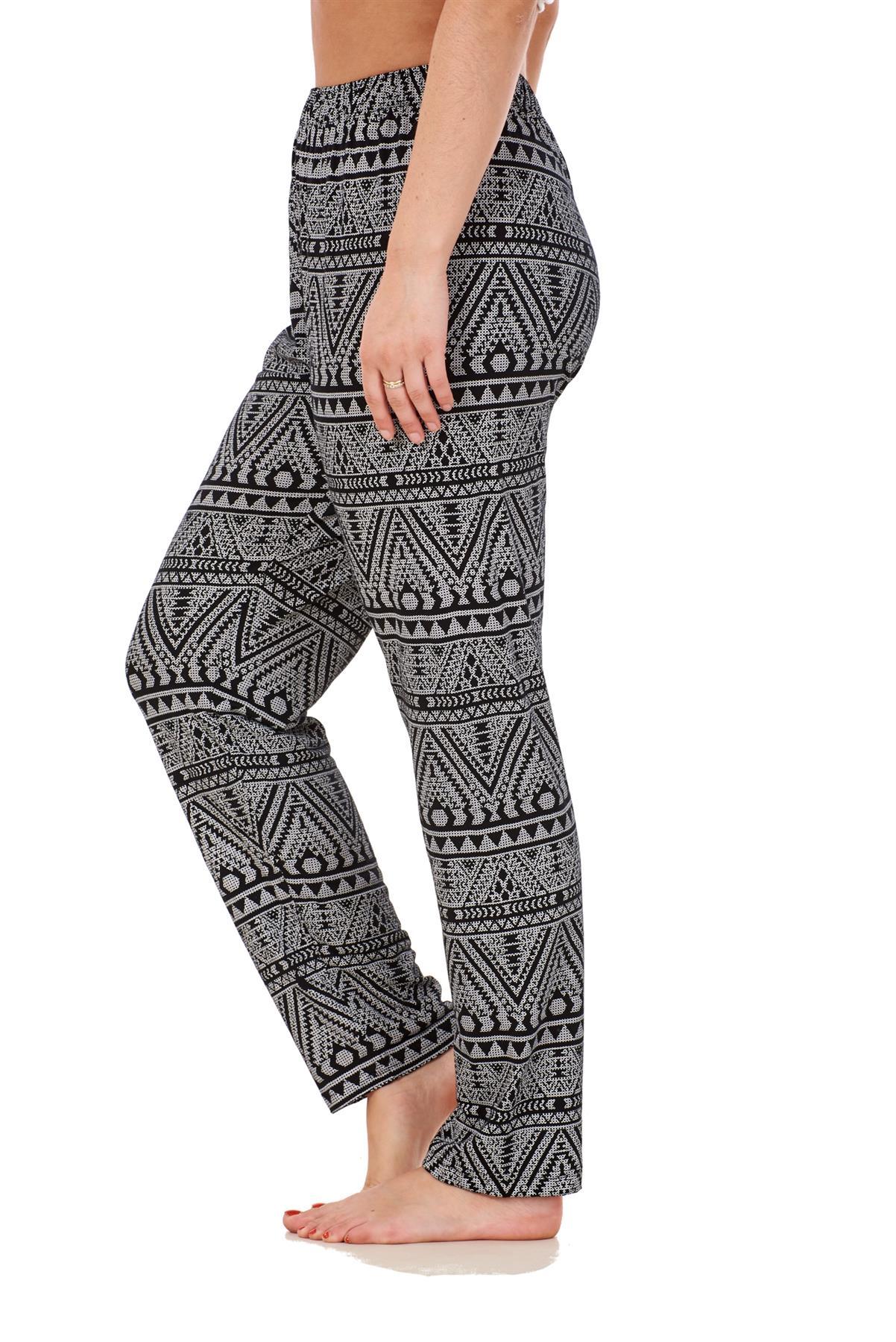 Ladies-Women-Trouser-Elasticated-Printed-Tapered-Harem-High-waist-Regular-Pants thumbnail 11