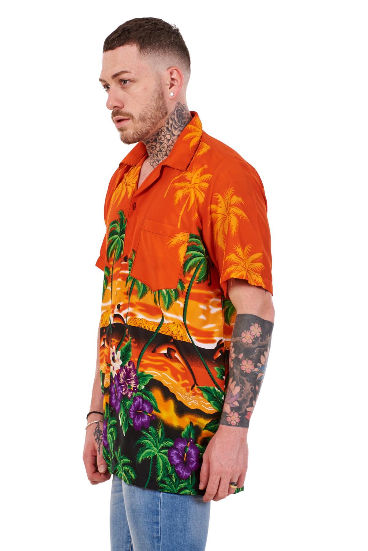 Mens-Hawaiian-Shirt-Multi-Colors-Print-Regular-Big-Size-Summer-Fancy-Dress-M-5XL thumbnail 23