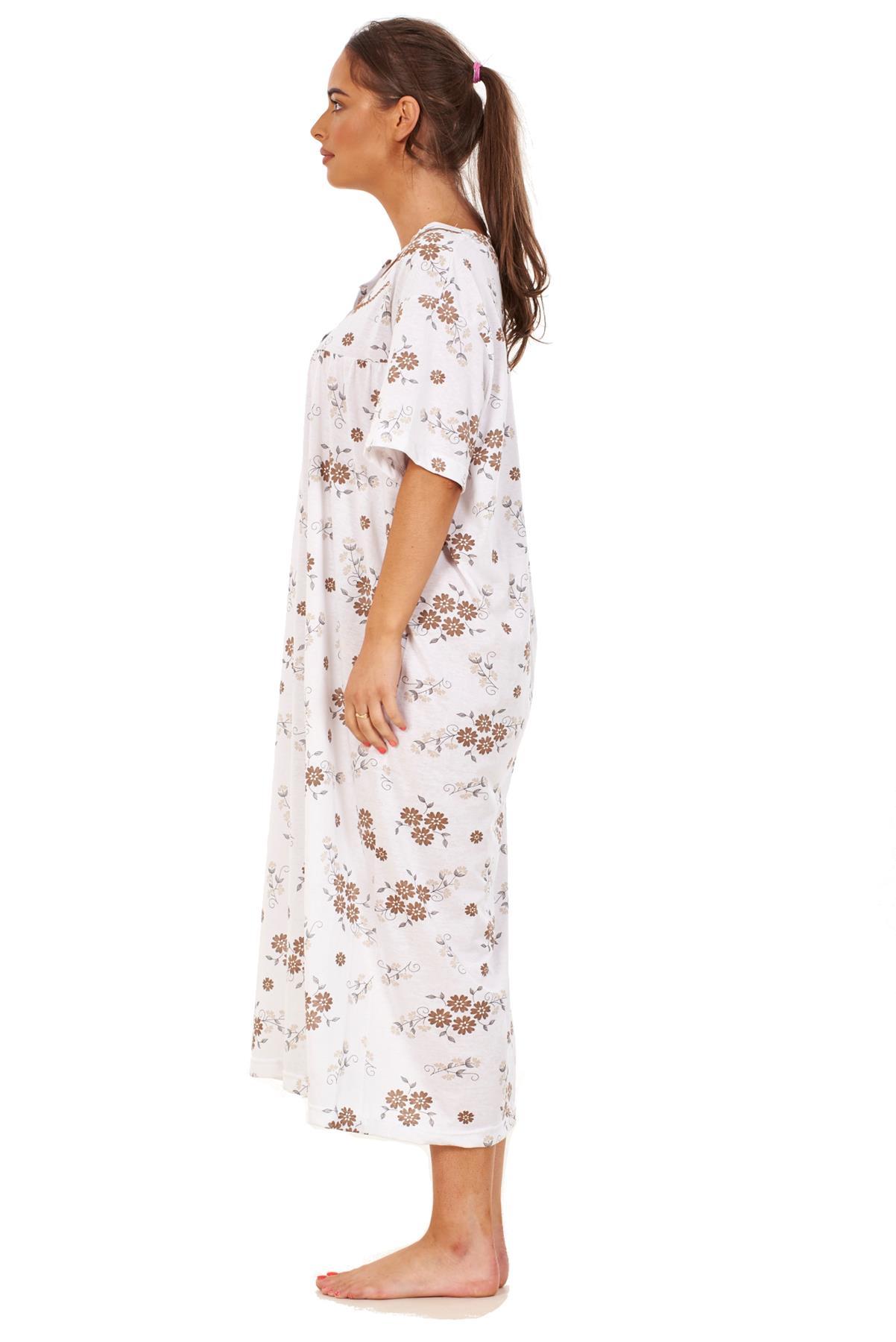 Women Long Nightdress 100/% Cotton Floral Button Short Sleeve Nightwear M to 3XL