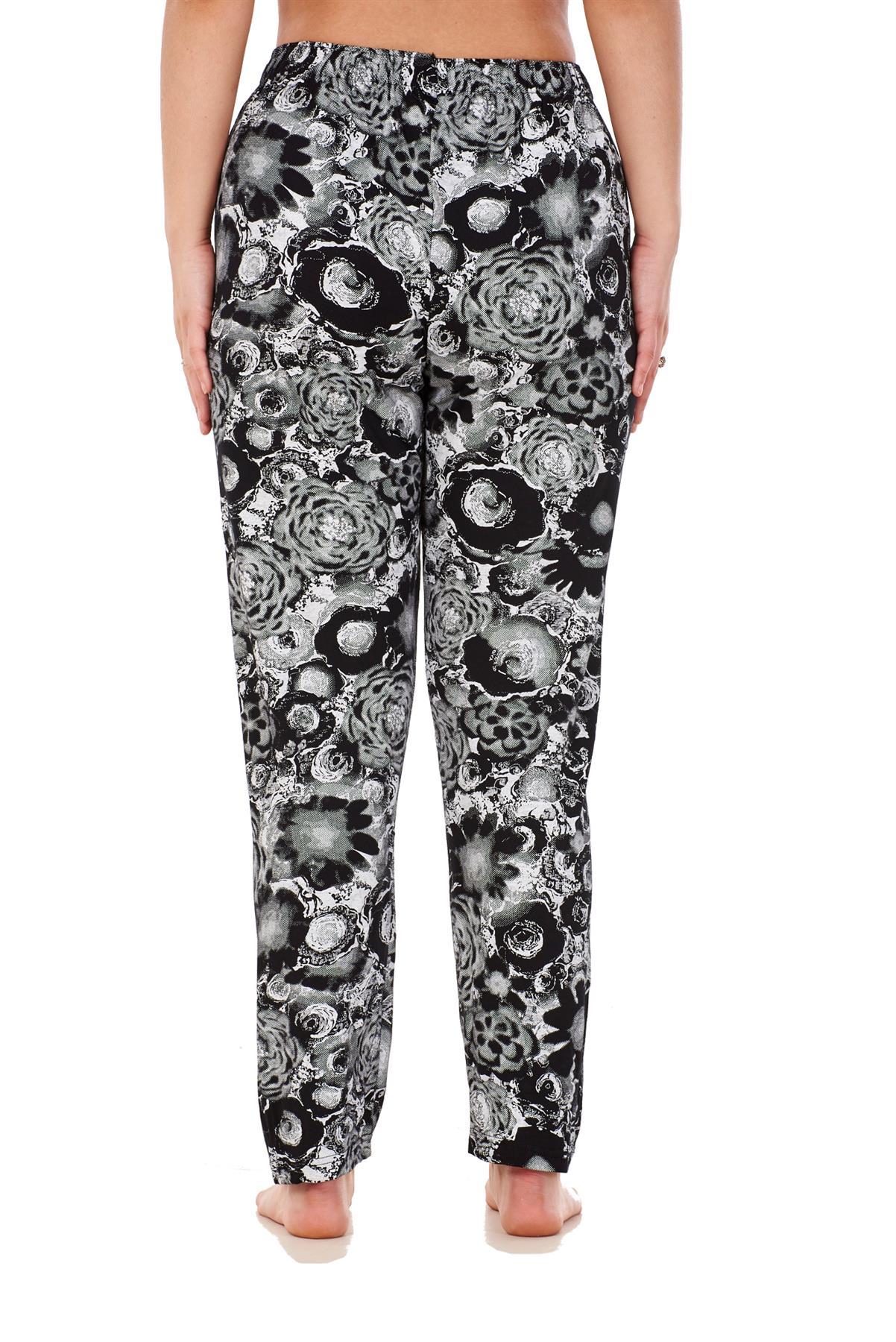 Ladies-Women-Trouser-Elasticated-Printed-Tapered-Harem-High-waist-Regular-Pants thumbnail 4