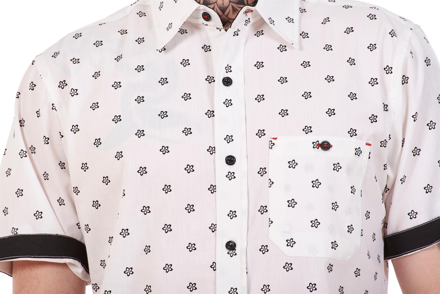 Mens-100-Cotton-Printed-Shirt-Short-Sleeve-Regular-Big-Size-Casual-Top-M-to-5XL thumbnail 21