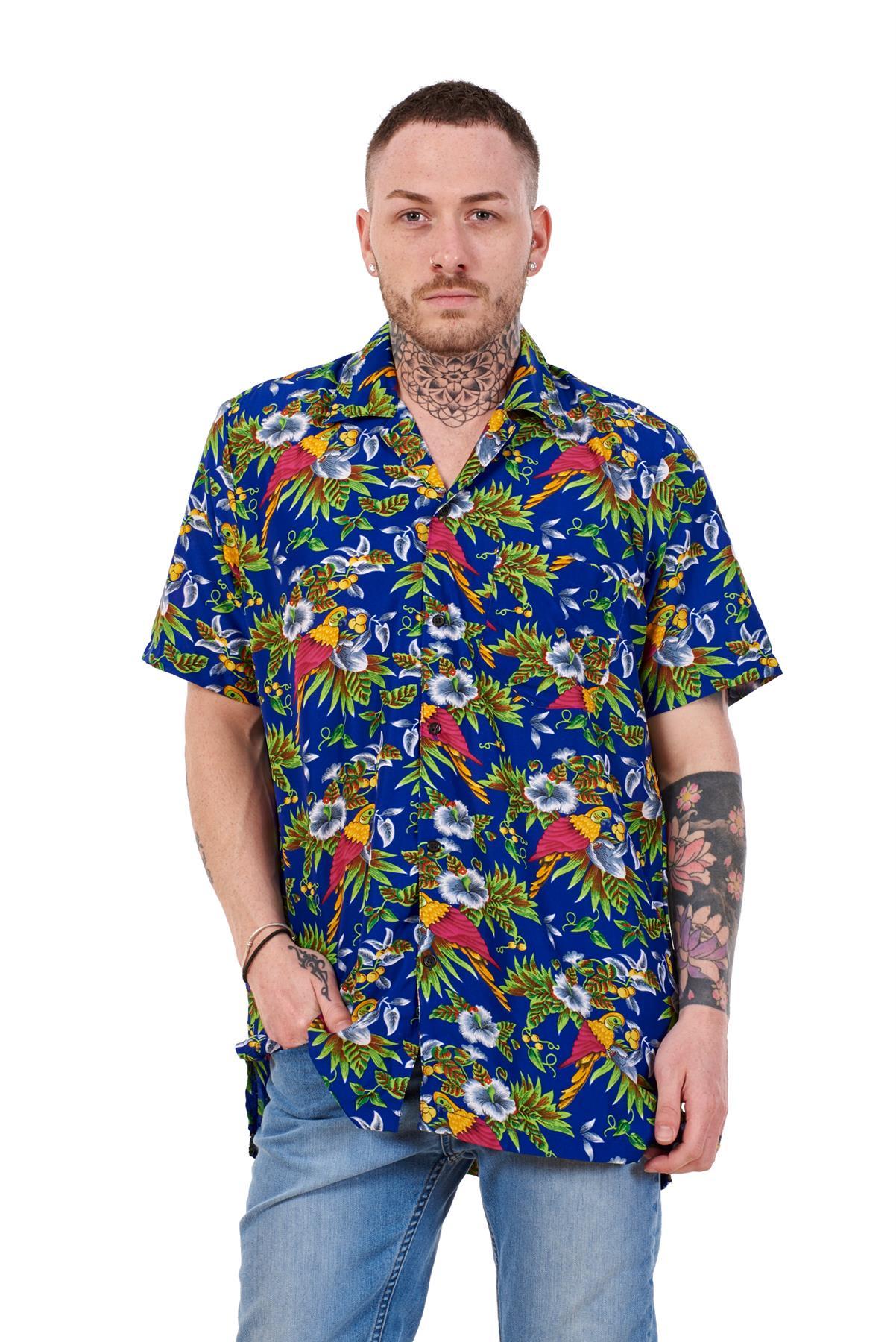 Mens-Hawaiian-Shirt-Multi-Colors-Print-Regular-Big-Size-Summer-Fancy-Dress-M-5XL thumbnail 17
