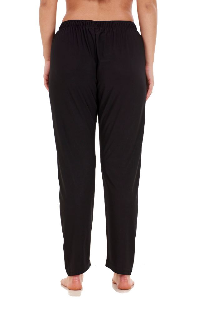 Ladies-Women-Trouser-Elasticated-Tapered-High-waist-ITY-Regular-Pants-Black thumbnail 9