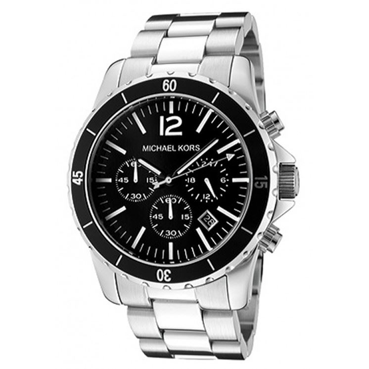 michael kors mens chronograph watch stainless steel bracelet black michael kors mens chronograph watch stainless steel bracelet black dial mk8140
