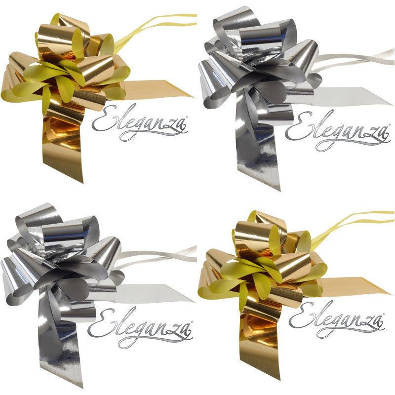 GIFT WRAP 1M VARIOUS COLOURS 50mm RIBBON SET INCLUDING BOW FOR CAKES TOPPERS