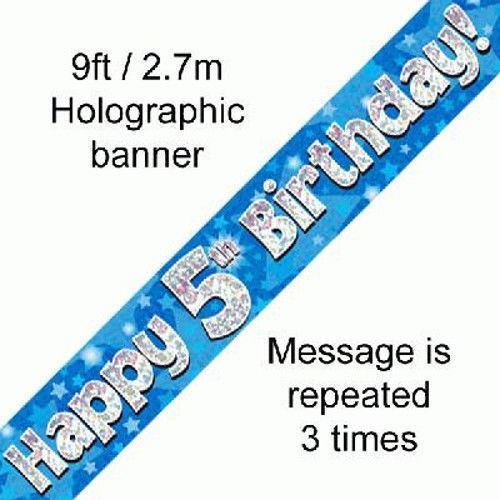 Blue-Happy-Birthday-Party-Holographic-Foil-Banner-9ft-2-7m-Multi-Buy-Discount thumbnail 8
