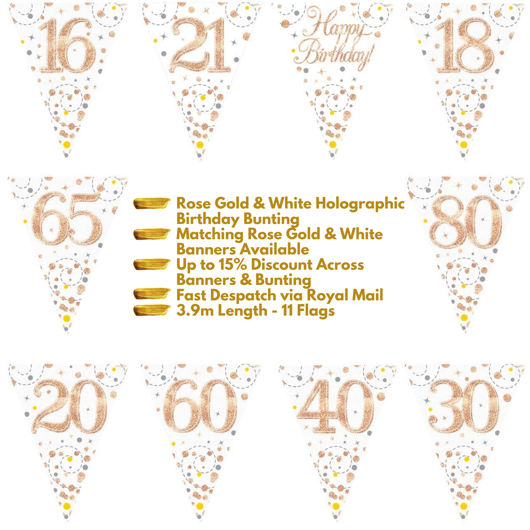 Age 18 Birthday Party Banner Sparkling Fizz Rose Gold /& White