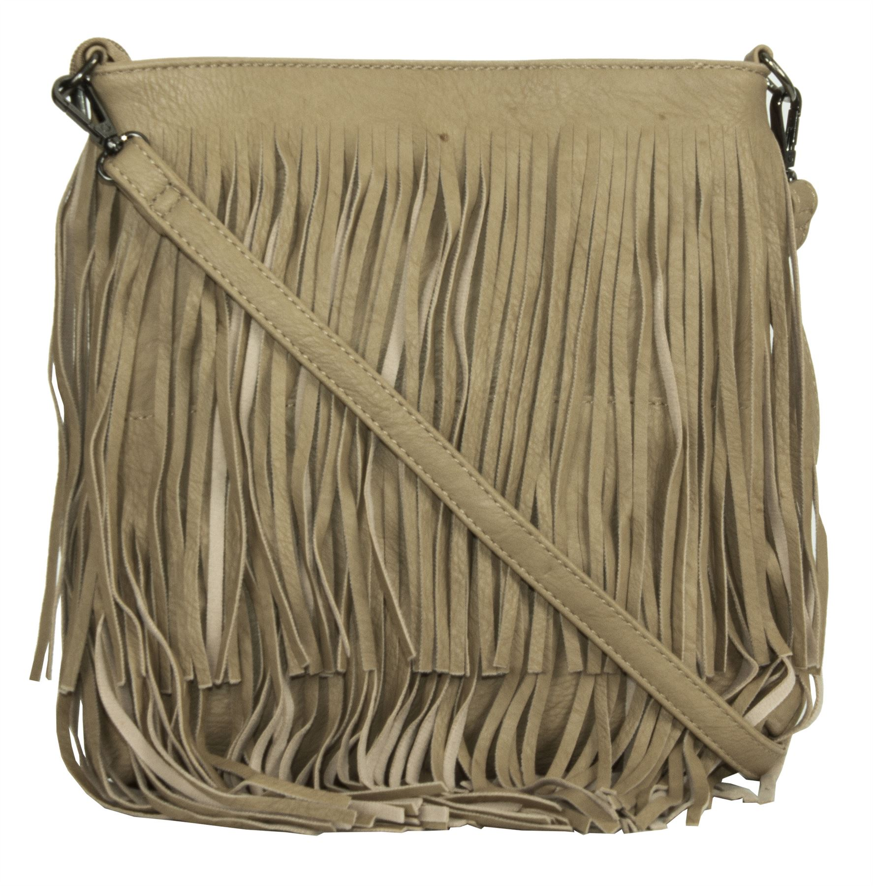 Big Handbag Shop Womens Medium Size Faux Leather Tassel Fringe Shoulder Bag