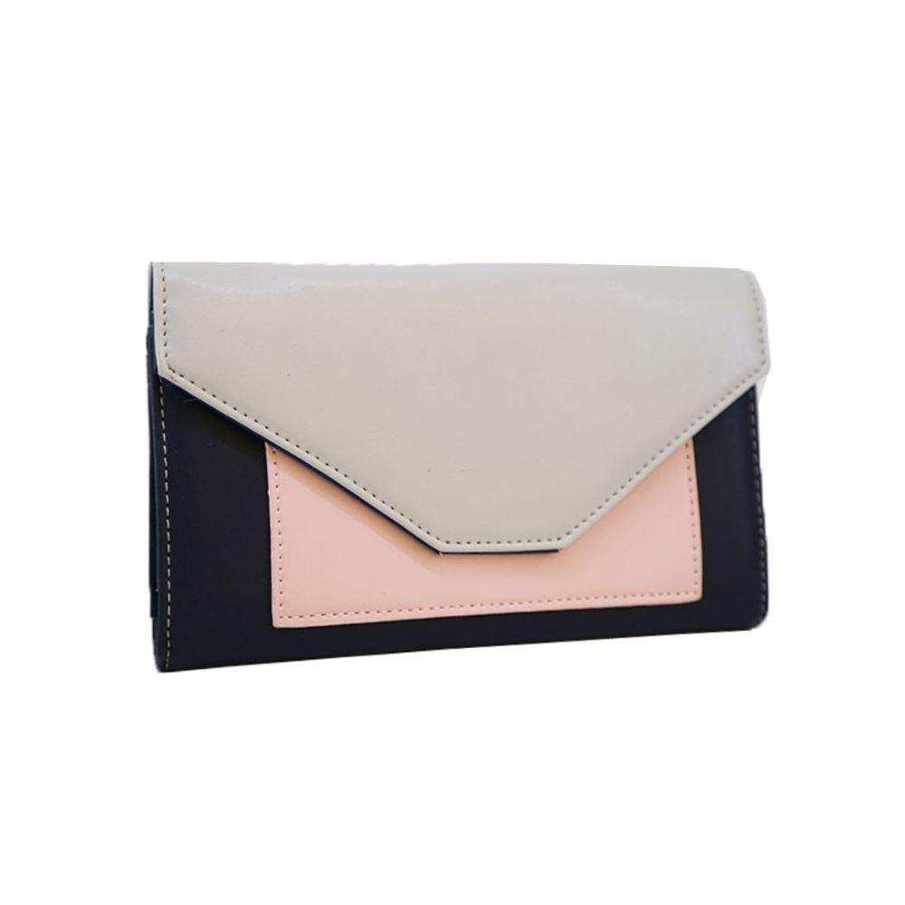 New-Edie-PU-Purse-Envelop-Colour-Block-Flap-Over-Basic-Wallet-Casual-Card-Slot thumbnail 7