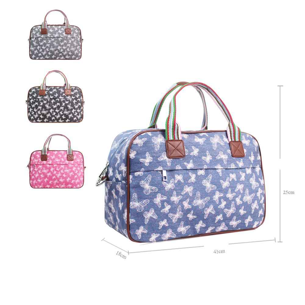 Women's Large Weekend Bag Ladies Butterfly Print Overnight