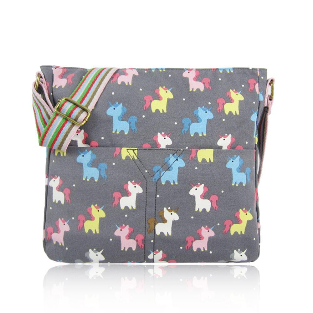 Canvas Cross Body Bag in Unicorn Pattern. Large Everyday School ...