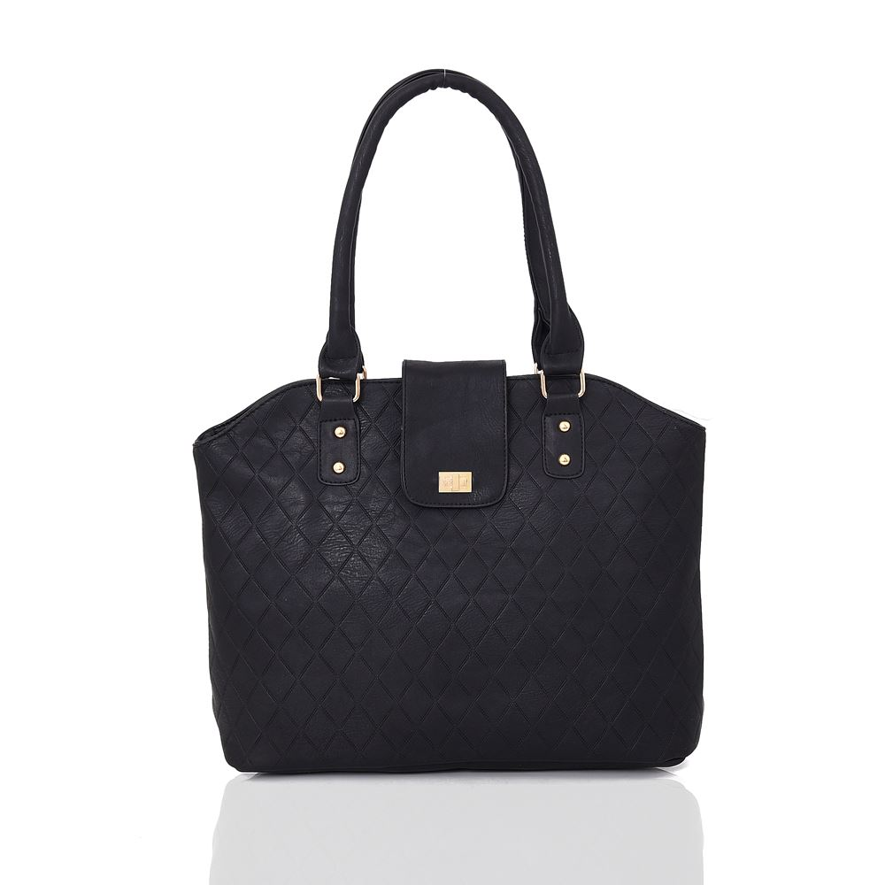 Womens Trendy Tote SHOPPER Bag Strap Faux Leather Shoulder Handbag Quilted  Black. About this product. Picture 1 of 2  Picture 2 of 2 48934904b3f9f