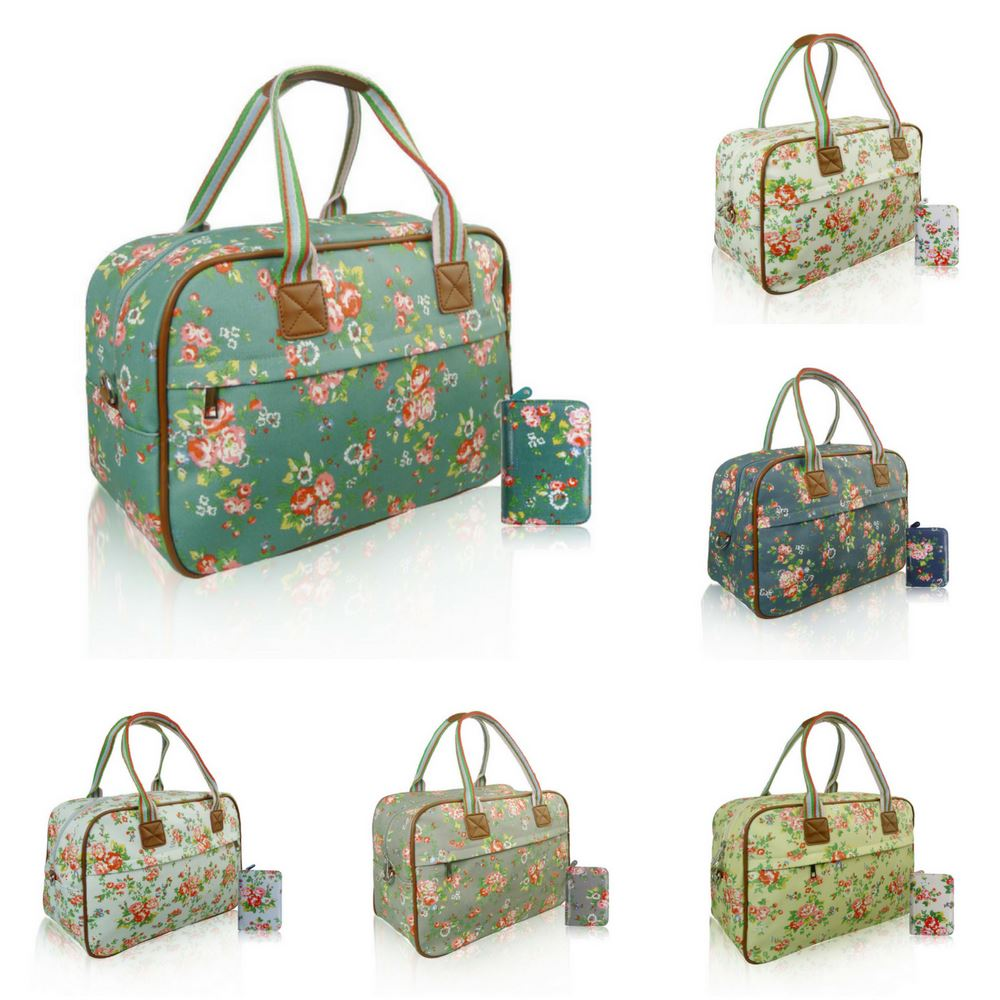 Details about Women s Floral Overnight Bag   Purse Women Hand Weekend  Luggage   Purse Set Gift 7f487b9d5b289