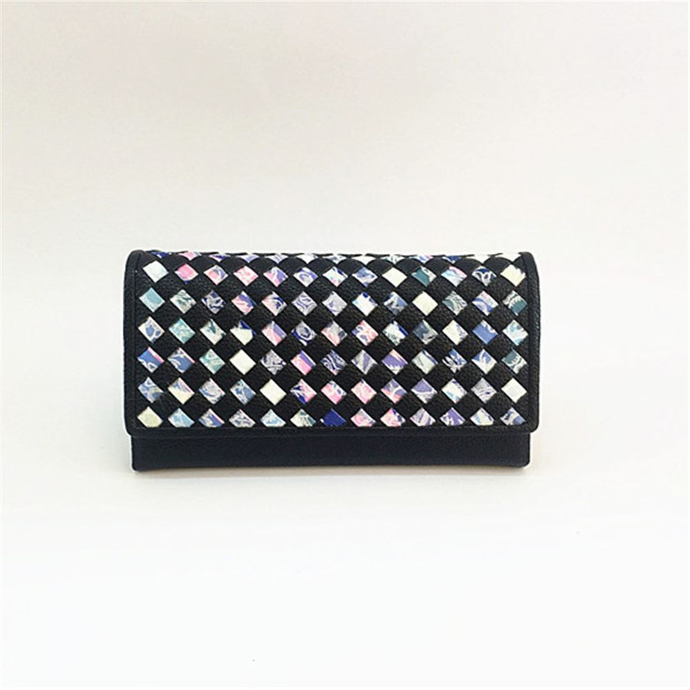 Ladies Colourful Marble Laser Cut Weave Large Long Card Purse Coin ...