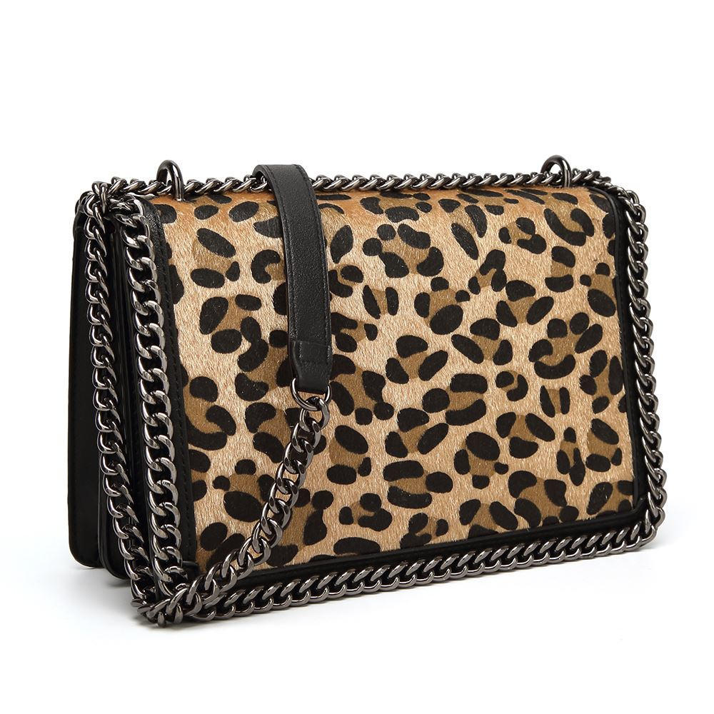 27a00138c Women's Designer Style Leopard Print Faux Pony Hair Flap Crossbody Bag