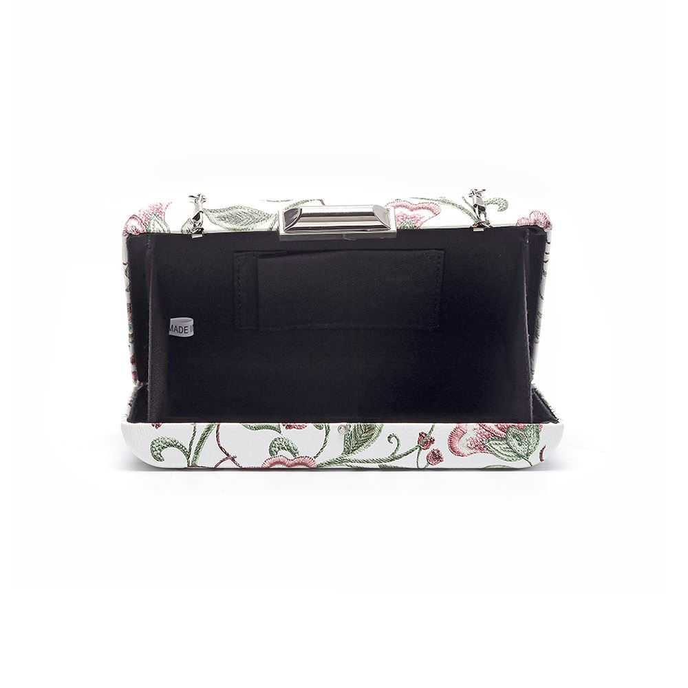 Women-039-s-Designer-Style-Embroidered-Flower-Print-Clutch-Bag