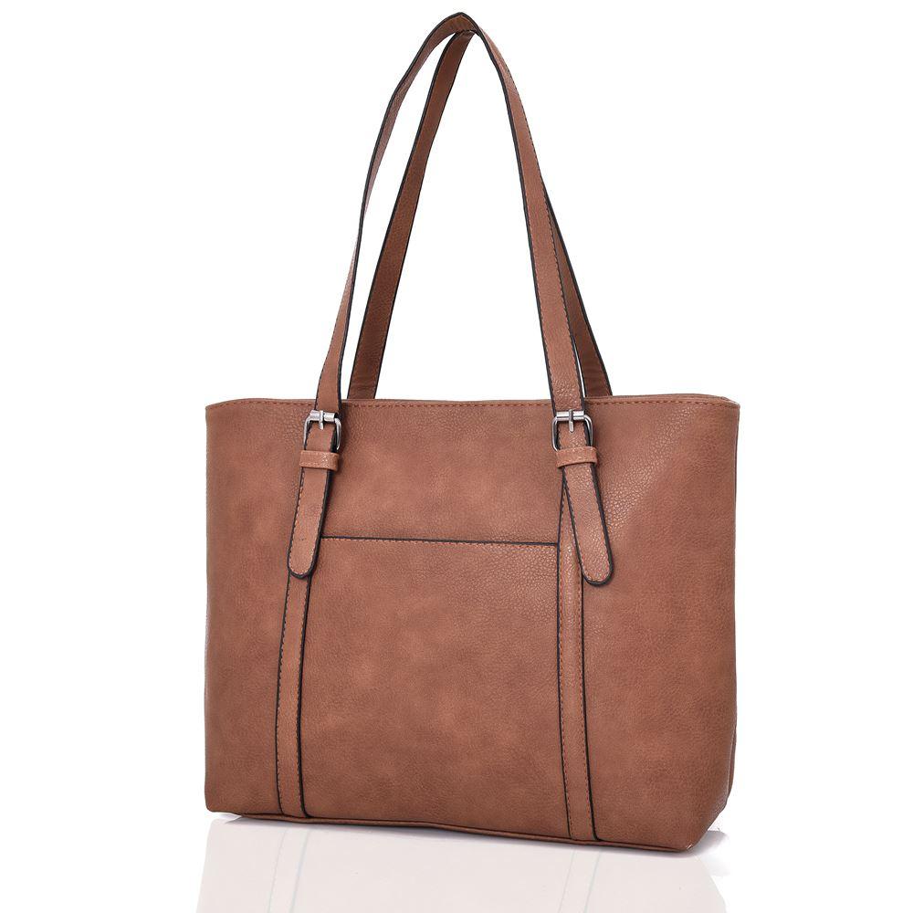 New-Women-039-s-Large-Designer-Style-PU-Leather-Tote-Shopper-Hand-Bag miniatura 12
