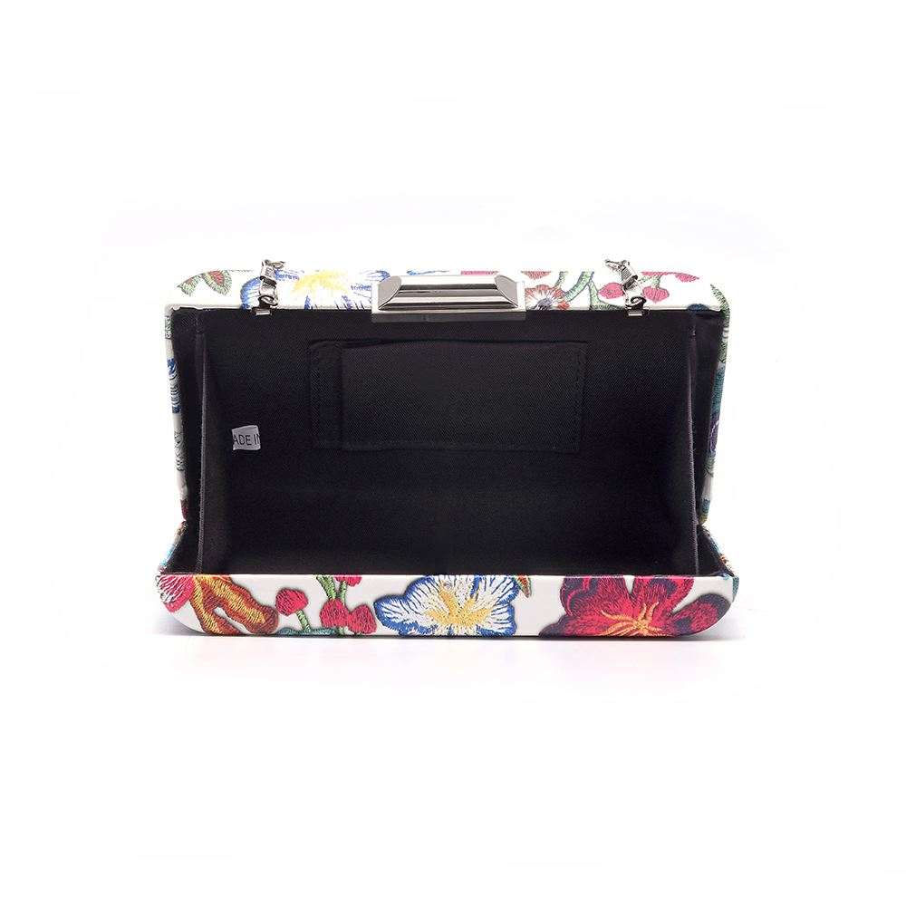 Women-039-s-Designer-Style-Embroidered-Flower-Print-Clutch-Bag